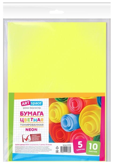 Цветная бумага тонированная неоновая ArtSpace, A4, 10 л., 5 цв.
