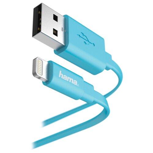 Кабель HAMA USB - Apple Lightning Flat 1.2 м синий