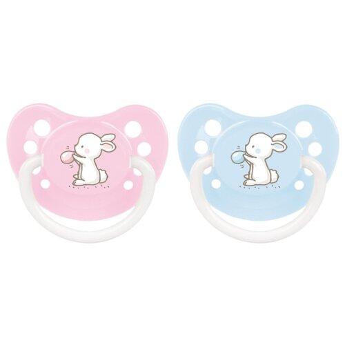 Купить Пустышка силиконовая анатомическая Canpol Babies Little cuties 6-18 м (1 шт) голубой/розовый, Пустышки и аксессуары