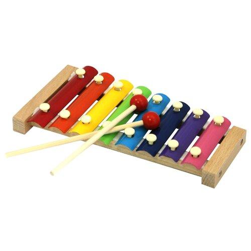 База игрушек ксилофон деревянный 7032 красный/оранжевый/желтый/зеленый