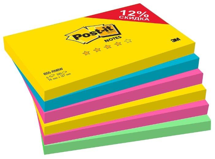 Post-it Блок Радуга Плюс, 76х127 мм, 4 цвета, 600 штук (655-RNBW)