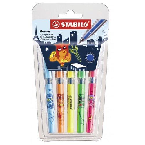 STABILO Набор шариковых ручек 828mini Heroes 0.4 мм, в упаковке 5 штук, синий цвет чернил набор шариковых ручек stabilo excel 4 шт