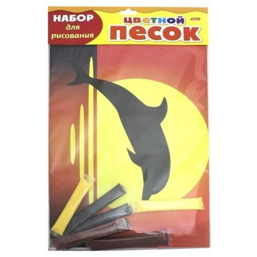 Купить Hatber Набор для рисования Раскрась песком с блестками Дельфин (РП4бл_17001), Фрески