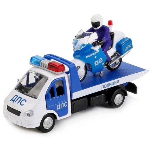 цена на Набор машин ТЕХНОПАРК ГАЗель Эвакуатор ДПС с мотоциклом Полиция (SB-16-42-T4-WB) синий/белый