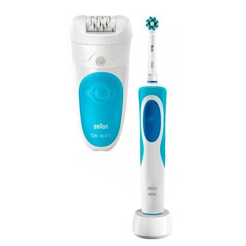 Эпилятор Braun 5-511 Silk-epil 5 Wet & Dry + OralB Vitality белый/голубой