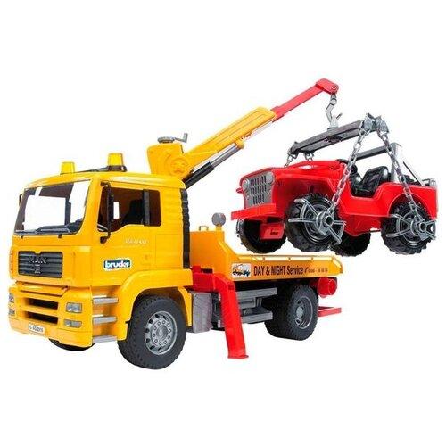 Набор машин Bruder MAN с портативным краном и внедорожником (02-750) 1:16 49.5 см желтый/красный