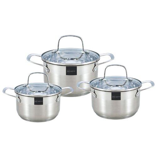 Набор кастрюль Rainstahl 1615-06RS\CW 6 пр. стальной набор посуды rainstahl 6 предметов 1616 06rs cw