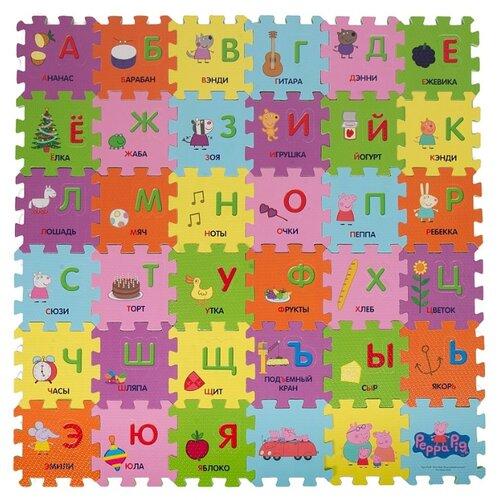 Коврик-пазл РОСМЭН Peppa Pig Учим азбуку с Пеппой (30128), Игровые коврики  - купить со скидкой