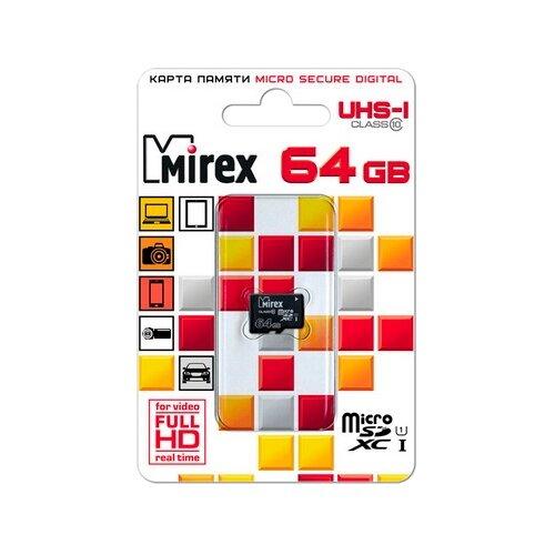 Фото - Карта памяти Mirex microSDXC Class 10 UHS-I U1 64 GB, чтение: 45 MB/s, запись: 25 MB/s карта памяти microsdxc apacer 64 гб class 10 uhs i u1