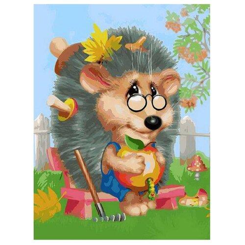 Купить Белоснежка Картина по номерам Ёжик-садовод 30х40 см (083-AS), Картины по номерам и контурам