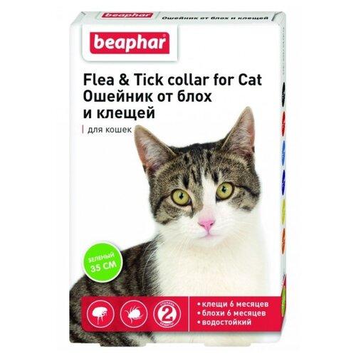 Beaphar ошейник от блох и клещей Flea & Tick для кошек, 35 см, зеленый ошейник для кошек beaphar от блох и клещей 35см