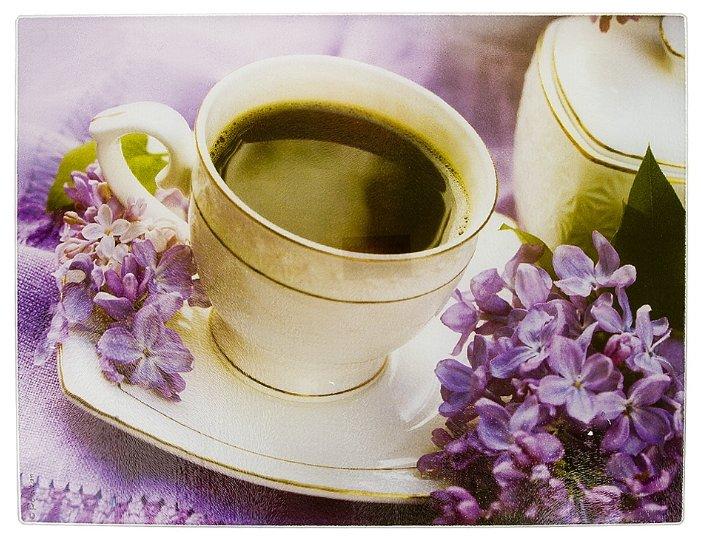 Разделочная доска Best Home Kitchen 5341065 Утренний кофе 40x30x0,5 см рифленая