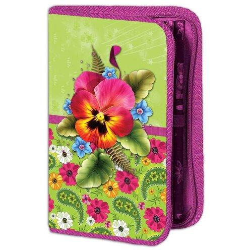 Купить Проф-Пресс Пенал Букет с фиалкой (ПН-4676) зеленый/розовый, Пеналы