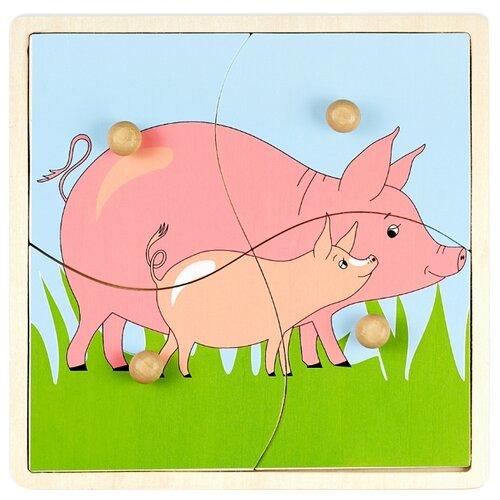 Рамка-вкладыш Маленький гений Мать и дитя Свинья (4125А), 4 дет.