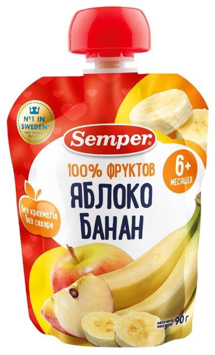 Пюре Semper яблоко и банан (с 6 месяцев) 90 г, 1 шт