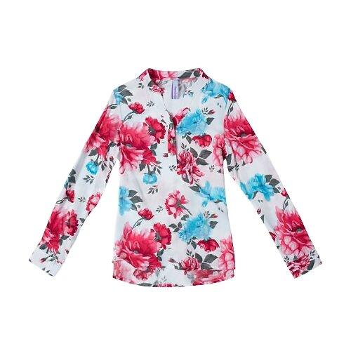 Блузка playToday размер 122, белый, розовый, синий