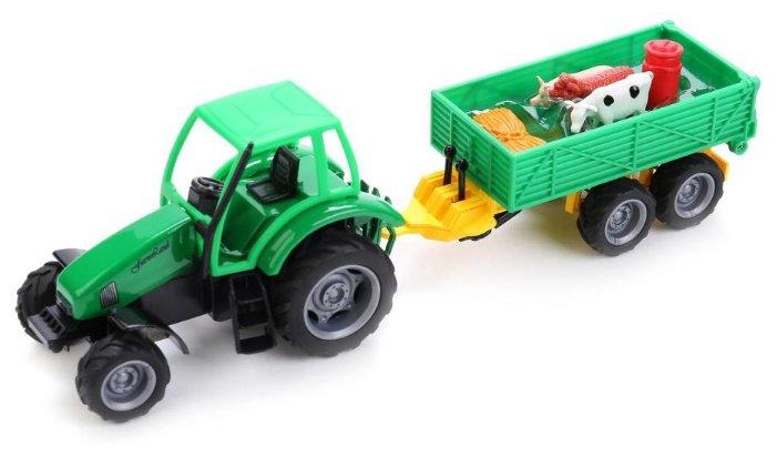 Трактор ТЕХНОПАРК с прицепом и фигурками животных (CT1026/SL489BP) зеленый