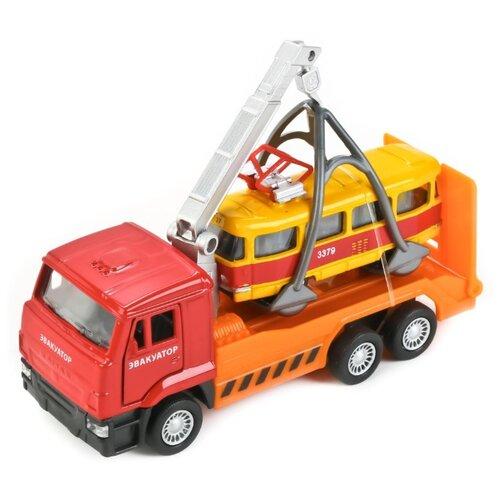 Набор машин ТЕХНОПАРК КамАЗ Автотранспортер с трамваем (SB-17-24-F-WB) оранжевый/желтый/красный