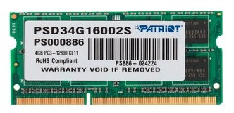 Модуль памяти Patriot Memory DDR3 SO-DIMM 1600Mhz PC3-12800 - 4Gb PSD34G16002S