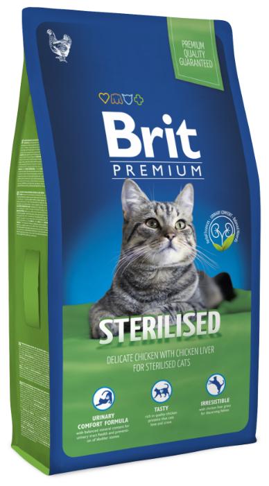 Корм для стерилизованных кошек Brit Premium с курицей 8 кг