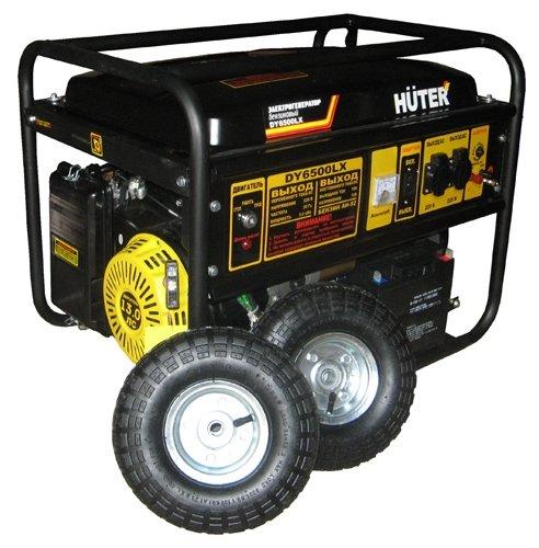 Бензиновый генератор Huter DY6500LX с колёсами (5000 Вт)