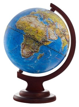 Глобус Ландшафтный рельефный, с подсветкой, на дуге и подставке из дерева