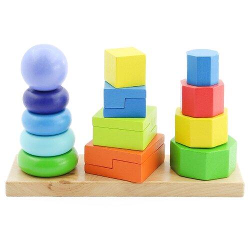 Купить Пирамидка Мир деревянных игрушек 3 в 1, Пирамидки