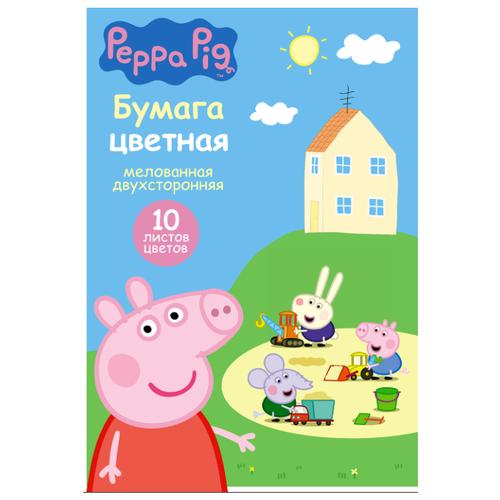 Купить Цветная бумага Свинка Пеппа (34054) РОСМЭН, A4, 10 л., 10 цв., Цветная бумага и картон