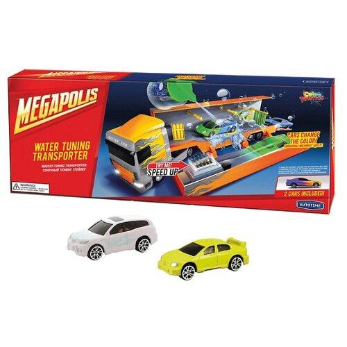 Купить Набор машин Autogrand Megapolis - Color twisters Water racing transporter-1 (33934) 1:60 оранжевый/белый/желтый, Машинки и техника