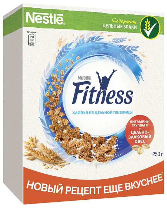 Готовый завтрак Nestle Fitness хлопья из цельной пшеницы, коробка, 250 г
