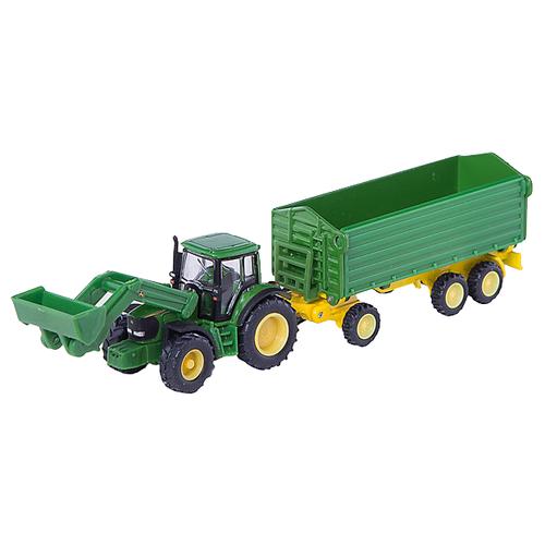 Трактор Siku John Deere с прицепом (1843) 1:87 22.6 см зеленый трактор экскаватор falk педальный с прицепом зеленый 225 см