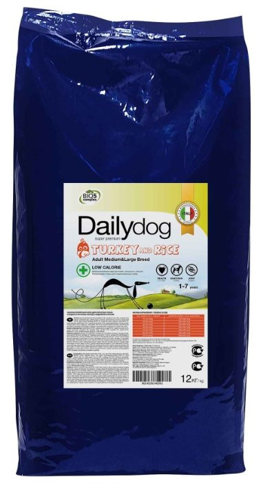 Корм для собак Dailydog Adult Medium and Large Breed Low Calorie turkey and rice