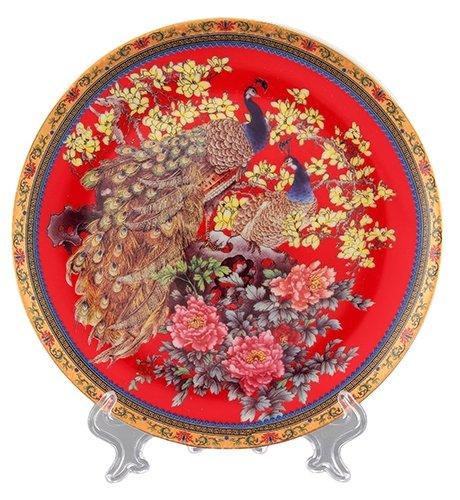 Elan gallery Тарелка декоративная Павлин на красном 18 см