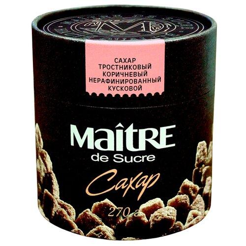 Сахар Maitre Тростниковый коричневый кусковой, картонная упаковка 0.27 кг