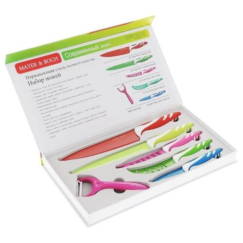 Набор MAYER & BOCH 5 ножей и овощечистка 24148 красный / салатовый / розовый / зеленый / синийНаборы ножей<br>