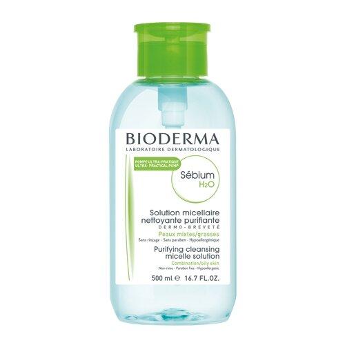 Bioderma Sebium Solution Micellaire H2O Очищающая мицеллярная вода с помпой, 500 мл bioderma abcderm h2o мицеллярная вода