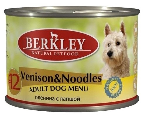 Корм для собак Berkley (0.2 кг) 1 шт. Паштет для собак #12 Оленина с лапшой