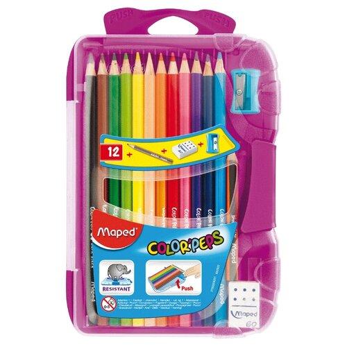 Maped Цветные карандаши Color Peps 12 цветов, «умная» коробка фиолетового цвета (832032)Цветные карандаши<br>