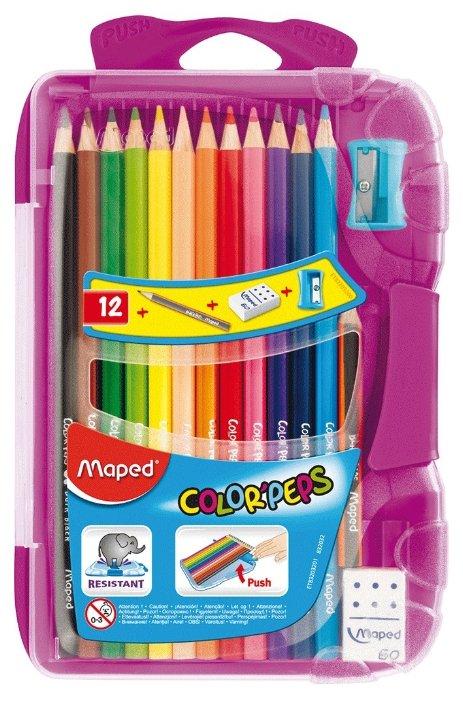 Maped Цветные карандаши Color Pep's 12 цветов, «умная» коробка фиолетового цвета (832032)