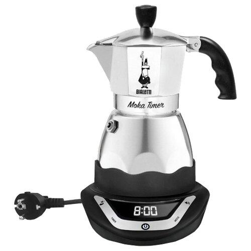 Кофеварка Bialetti Moka timer 3 серебристый/черный