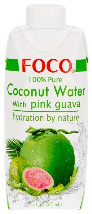 Вода кокосовая FOCO с розовой гуавой, без сахара