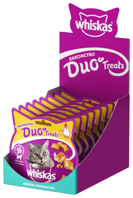 Лакомство для кошек Whiskas Duo Treats c курицей и сыром