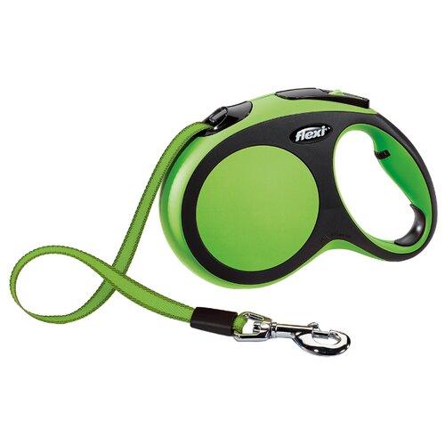 Поводок-рулетка для собак Flexi New Comfort L ленточный черный/зеленый 5 мПоводки для собак<br>