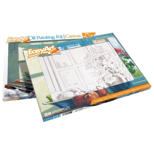 Купить EasyArt Картина по контурам Цветы на окне 30х40 см (737006), Картины по номерам и контурам