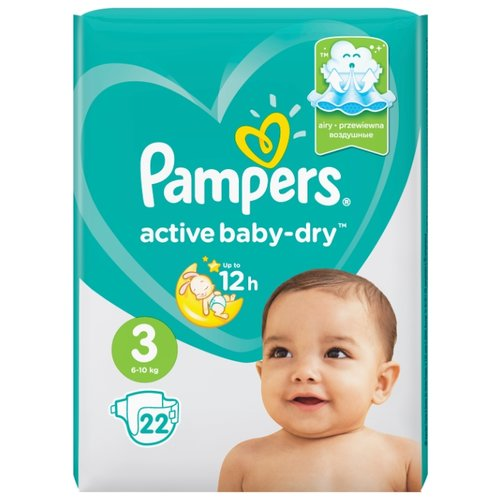 Pampers подгузники Active Baby-Dry 3 (6-10 кг) 22 шт. подгузники pampers active baby dry 5 11 16 кг 60 шт