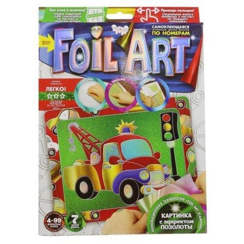 Купить Danko Toys Аппликация цветной фольгой Foil Art по номерам Машинка (FAR-01-04), Поделки и аппликации