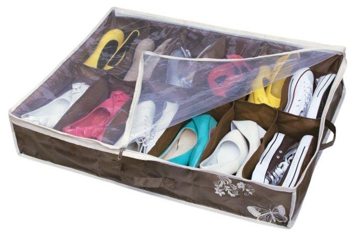 HAUSMANN Кофр для хранения обуви DV-201/DV-201P 74.5х60х15 см коричнево-бежевый с бабочкой