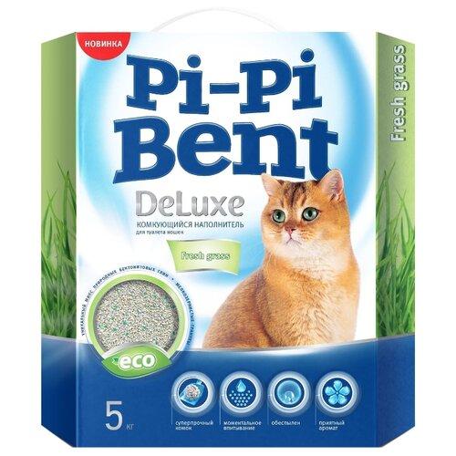 Комкующийся наполнитель Pi-Pi-Bent Deluxe Fresh Grass, 5 кг комкующийся наполнитель pi pi bent классик 10 кг