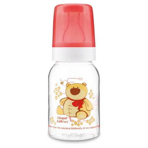 Купить Canpol Babies Бутылочка тритановая 120 мл Забавные животные с 3 мес., красный/мишка, Бутылочки и ниблеры
