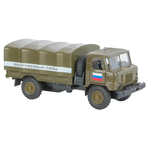 Купить Грузовик ТЕХНОПАРК ГАЗ 66 Вооруженные силы (CT-1299-20) 1:43 болотный, Машинки и техника